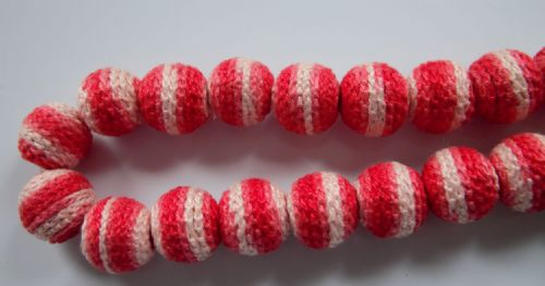 20mm Pink & Red Crocheted Wooden Beads